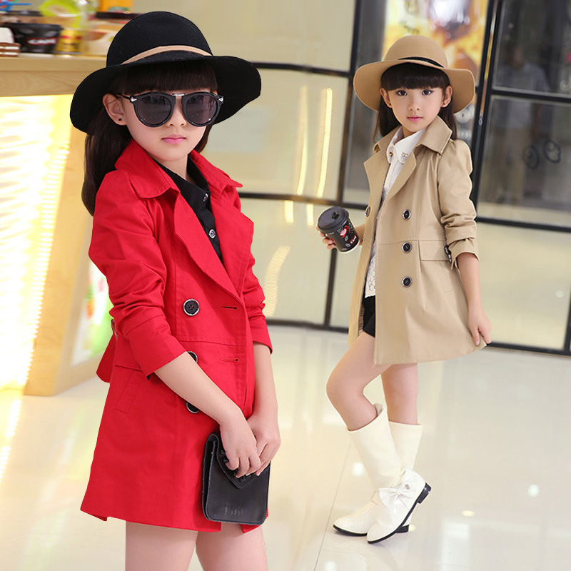 Childrens wear girls coat spring and autumn 2020 new foreign style Zhongda childrens cotton top girls medium length childrens windbreaker
