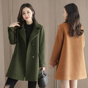 毛呢大衣女冬装小个子长袖收腰呢子外套翻领新款学生斗篷大衣韩版