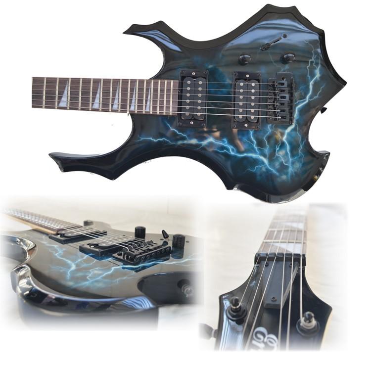 誕生日の本物の稲妻の炎のエレキギターの異形のスーツはコースの初心者のスピーカーにプレゼントします。