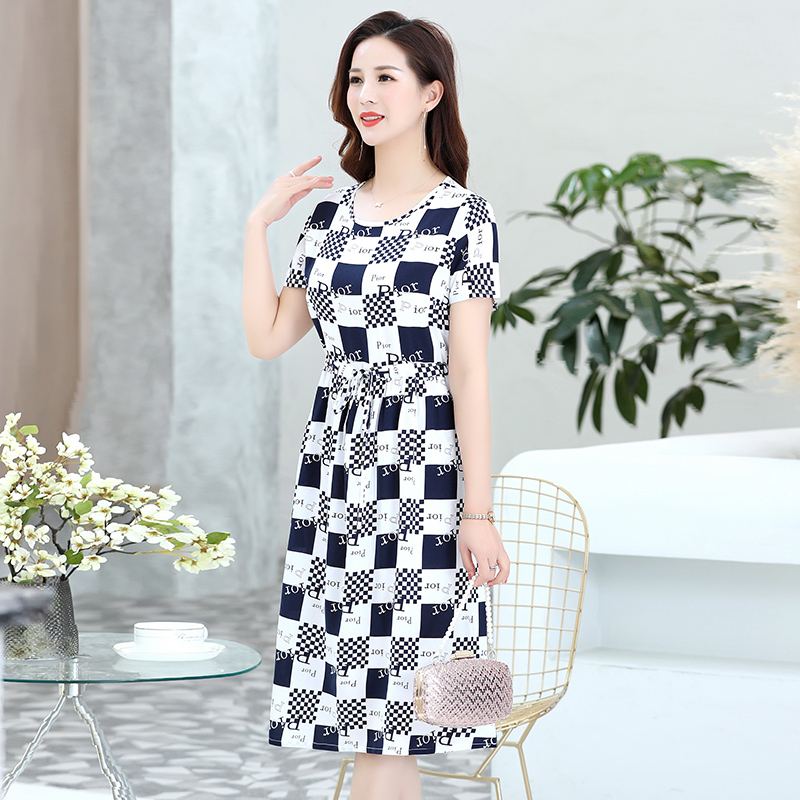 Moms cotton silk dress 2021 summer fashion womens new middle-aged slim loose size over the Knee Skirt
