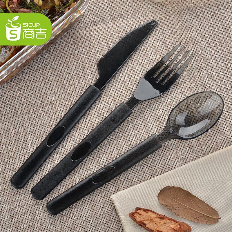 商吉 高檔獨立塑料一次性刀叉西餐叉子餐具 長柄勺子加厚100隻