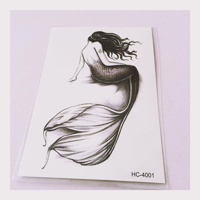 手绘美人鱼少女大图防水男女纹身贴手慢无