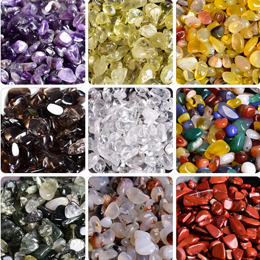 Natural broken crystal degaussing crushed stone, South Red Amethyst, white crystal, topaz, lapis powder crystal, filled with seven gems
