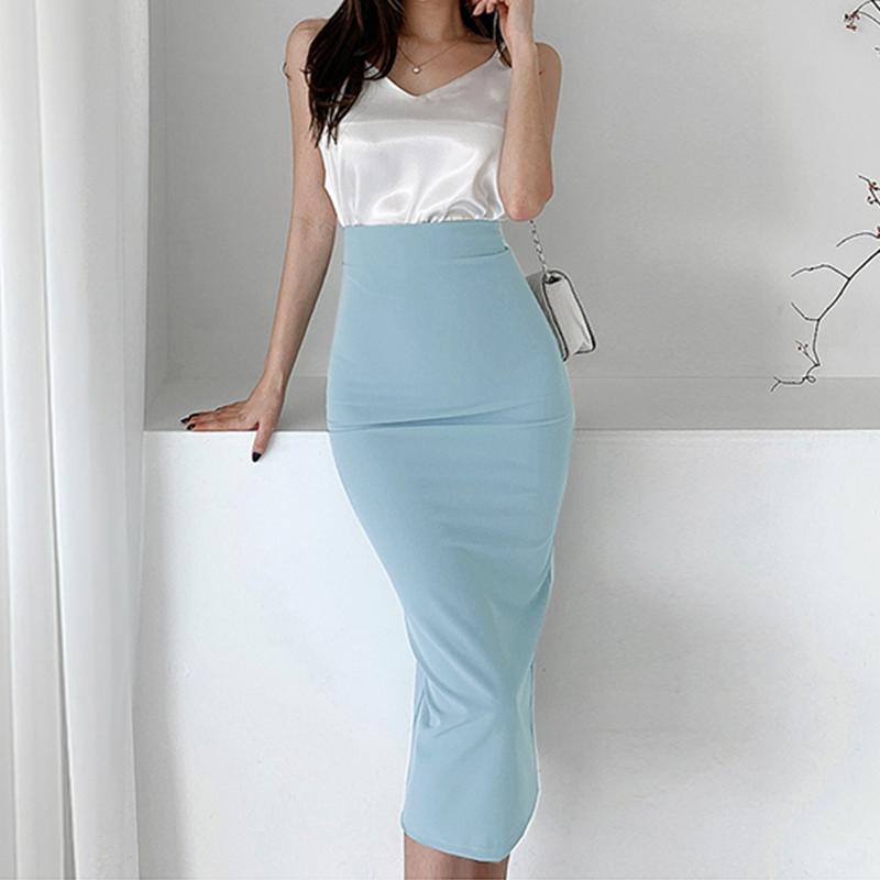 2020春夏季韩版修身OL高腰半身裙浅蓝色包臀铅笔裙气质开叉一步裙