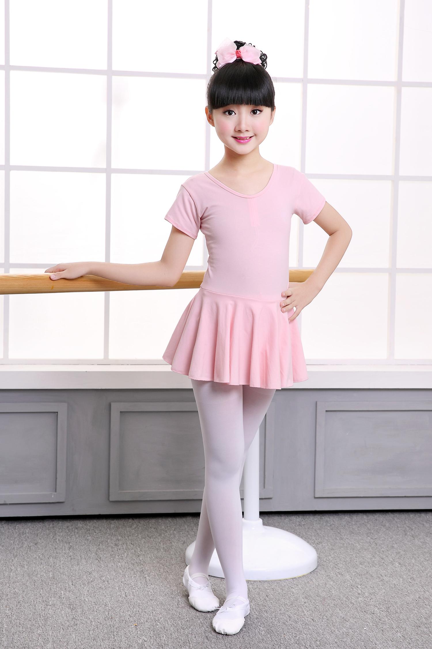 儿童舞蹈服练功服女孩粉色长短袖连体女童芭蕾裙考级服六一特惠