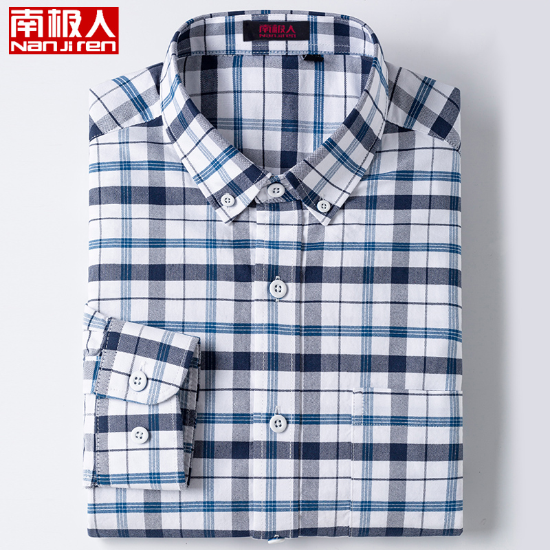Antarctica spring and summer business cotton no iron mens long sleeve shirt all cotton thin size Plaid short sleeve shirt