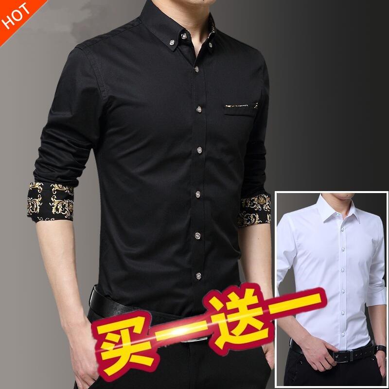 秋季衬衫男士长袖寸衣服韩版修身青年潮流加棉大码加绒保暖白衬衣