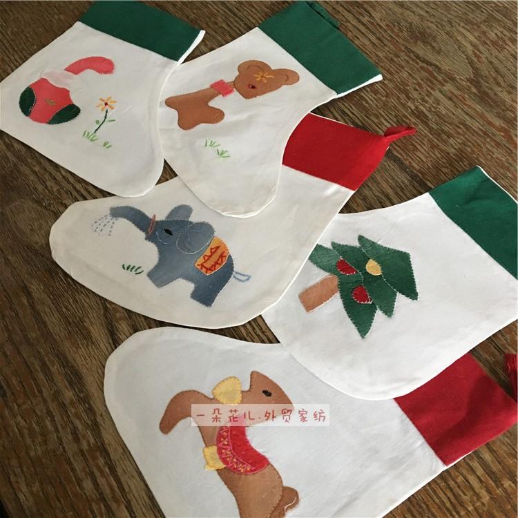原单外贸老货 纯棉圣诞袜 圣诞靴子 圣诞节装饰品礼物 手工补花