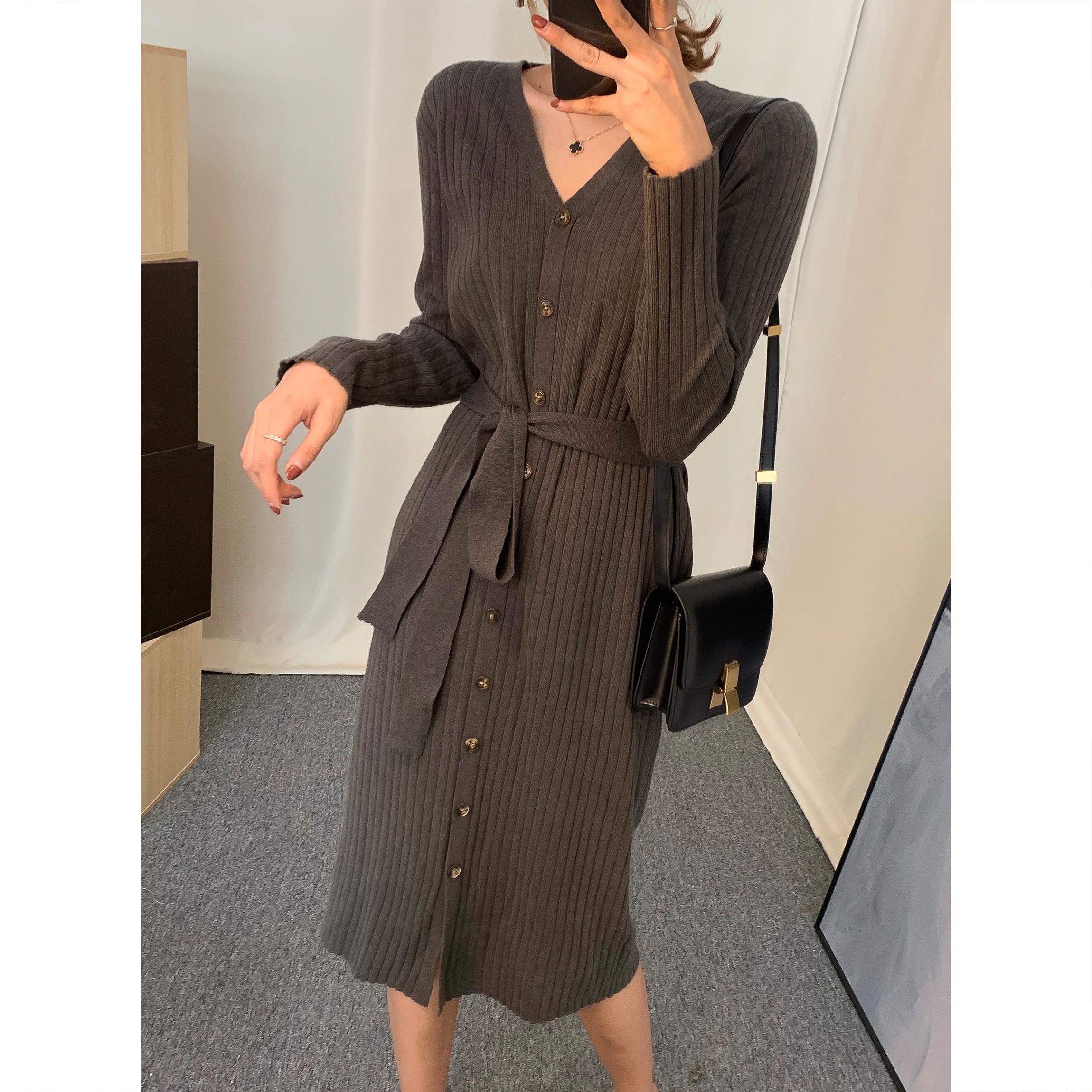 针织长袖修身显瘦秋冬新款连衣裙满139.00元可用10元优惠券