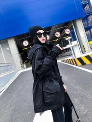风衣中长款2020秋季新款韩版抽绳收腰外套女装纯色净版防风衣潮