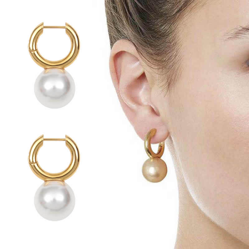French fashion ins blogger same chic ring imitation pearl earrings copper plated gold earrings