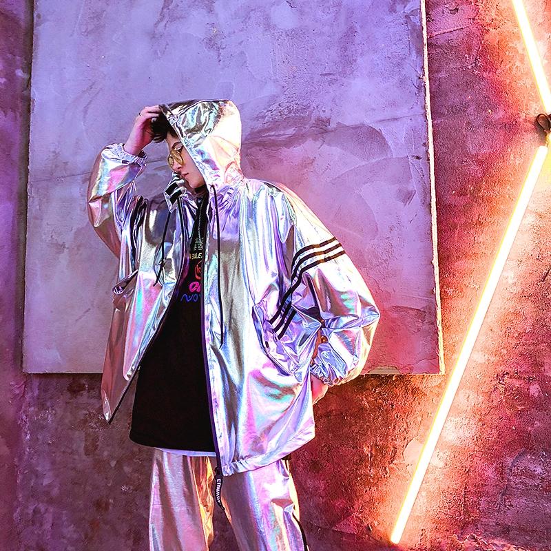欧美街头潮牌嘻哈夹克男亮面衣服韩版青少年宽松外套街舞团服装秋
