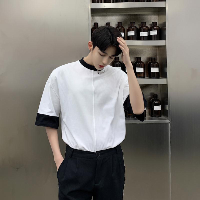假两件半袖男夏季2021新款ins潮牌铁环打底衫理发师短袖t恤上衣