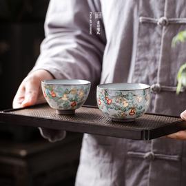 素功瑾礼手绘葫芦粉彩主人杯普洱小茶杯手工品茗杯郎琅琊彩汝窑杯