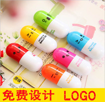 Cute expression telescopic pill pen capsule pen Advertisement Ballpoint Pen Creative customizable printed logo writing pen