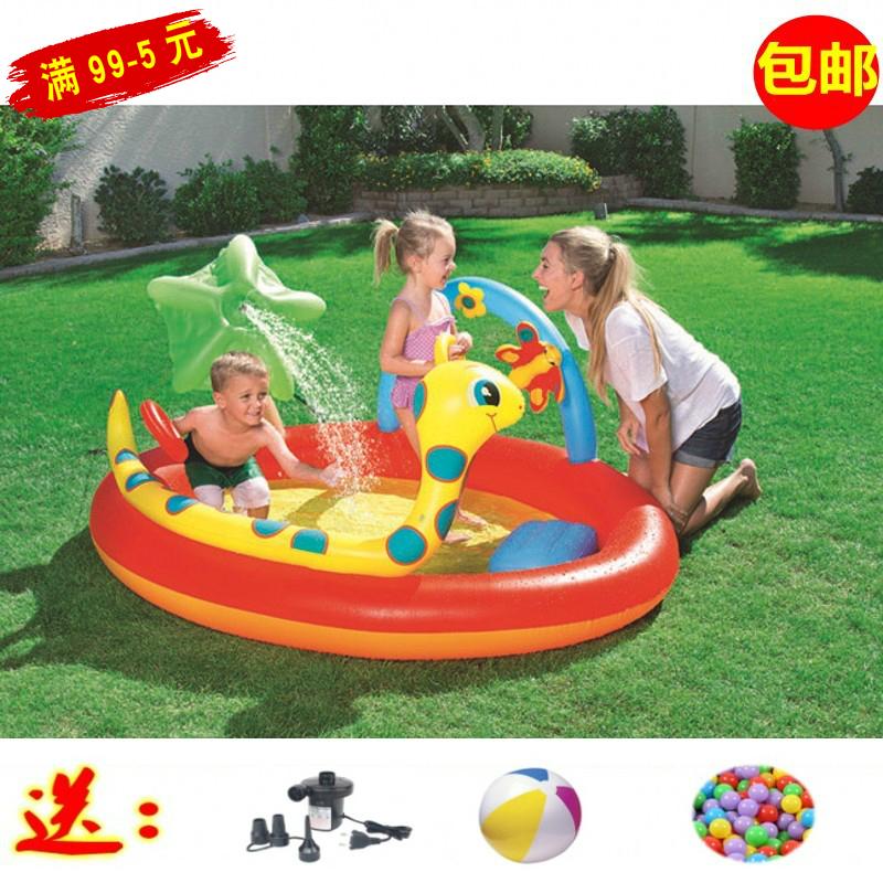 出口小号恐龙可喷水游泳池 幼儿园圆形冲气玩具池 宝宝花园戏水池券后139.00元