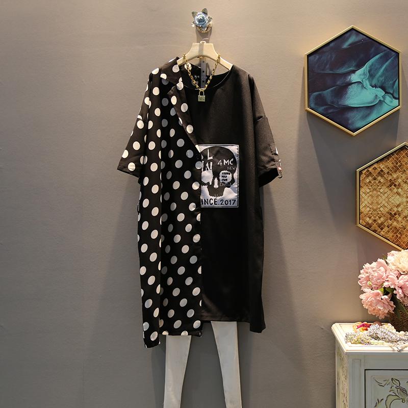 2019夏季新款宽松短袖时尚不规则波点拼接西装领连衣裙中长款中性99.00元包邮