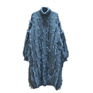 2020秋冬新款韓版大碼毛線連衣裙寬鬆加厚流蘇高領針織毛衣連衣裙