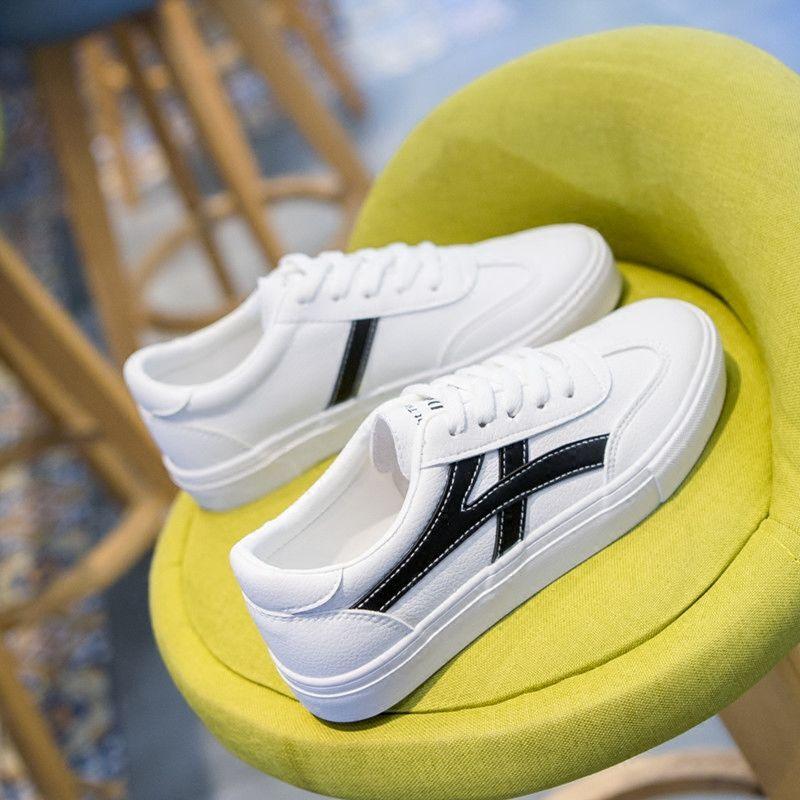 P47秋新款鞋子女学生韩版小白鞋女百搭运动鞋PU皮平底板鞋休闲鞋