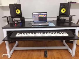 简约经济琴桌电钢琴录音棚工作台音乐工作桌编曲工作调音台桌子图片