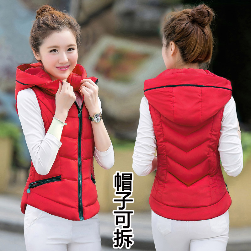 Autumn and winter short down cotton vest womens Korean version slim and thickened cotton padded jacket with thin waistcoat