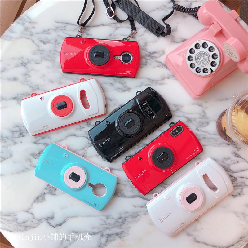 抖音网红同款相机的美图T9/T8s手机壳V6/M8S带挂绳软壳女款拼色潮