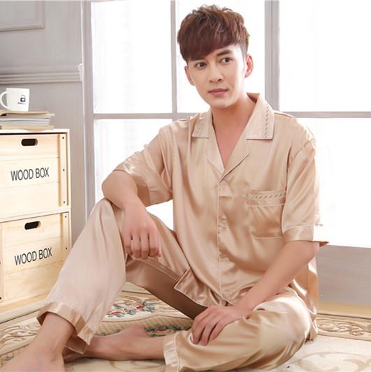 Summer silk pajamas mens short sleeve trousers shirt casual middle aged mens silkworm silk pajamas home suit