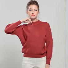 实拍女装新款纯色宽松半高领保暖毛衣女套头短款时尚百搭针织衫