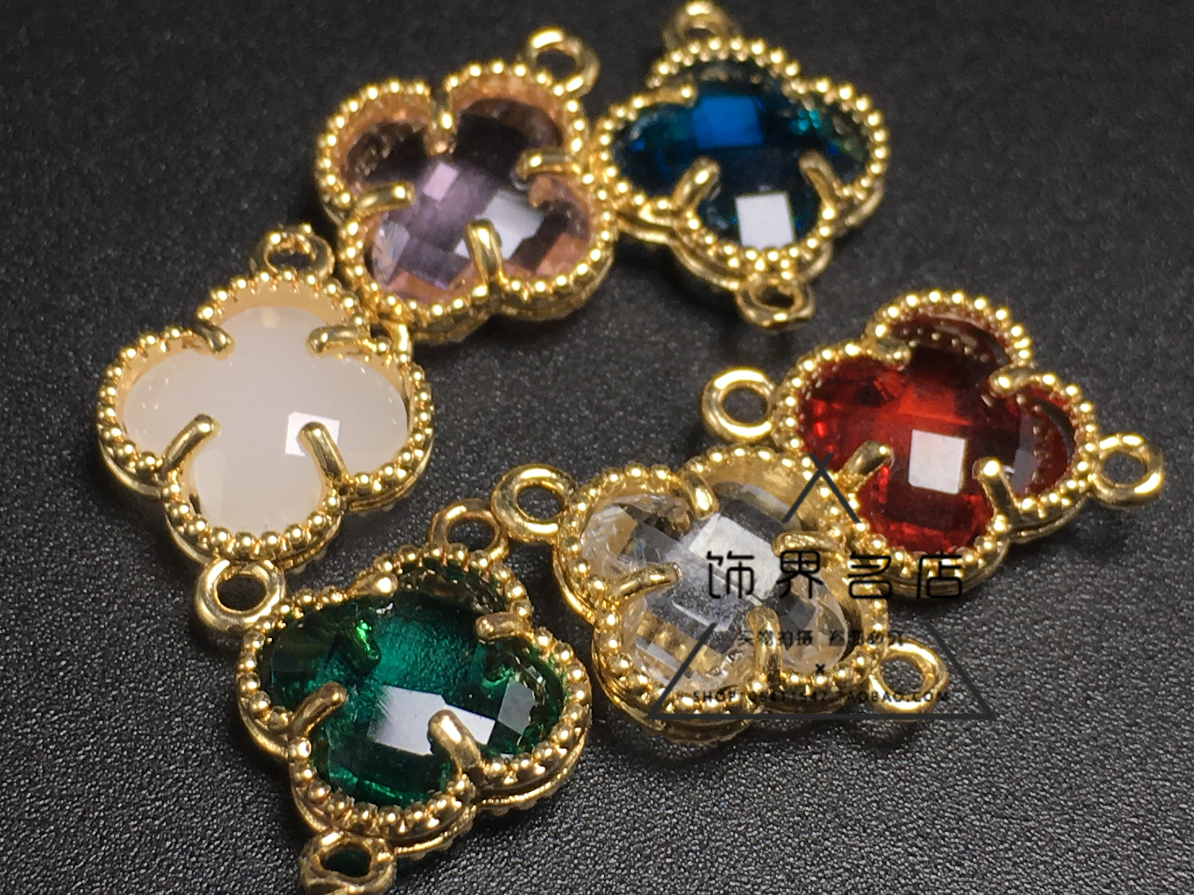 DIY accessories 12mm clover crystal glass copper clad gold plated earrings bracelet clothing connecting materials