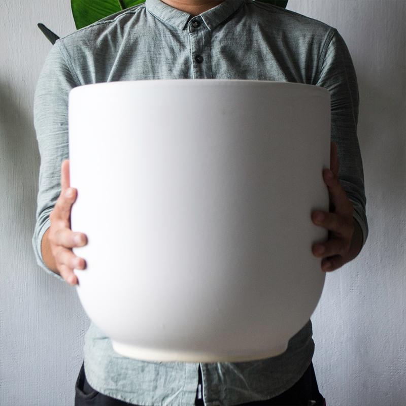 景德镇特大号黑白色陶瓷花盆简约阳台室内地面种植发财树绿植盆栽
