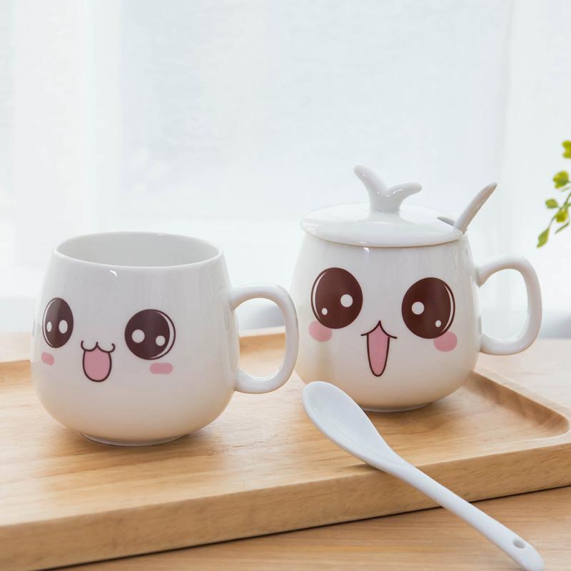 杯子创意陶瓷马克杯情侣杯水杯陶瓷杯带盖个性萌系表情可爱咖啡杯