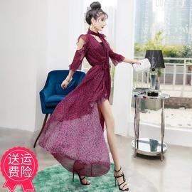 雪纺印花开衫2021新款流行连衣裙显瘦紧身打底短裙超仙气质女长裙