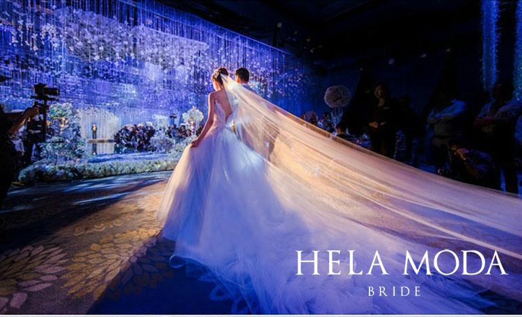 出租2021新款新娘结婚渐变重工抖音款唯美超仙显瘦大拖尾礼服婚纱