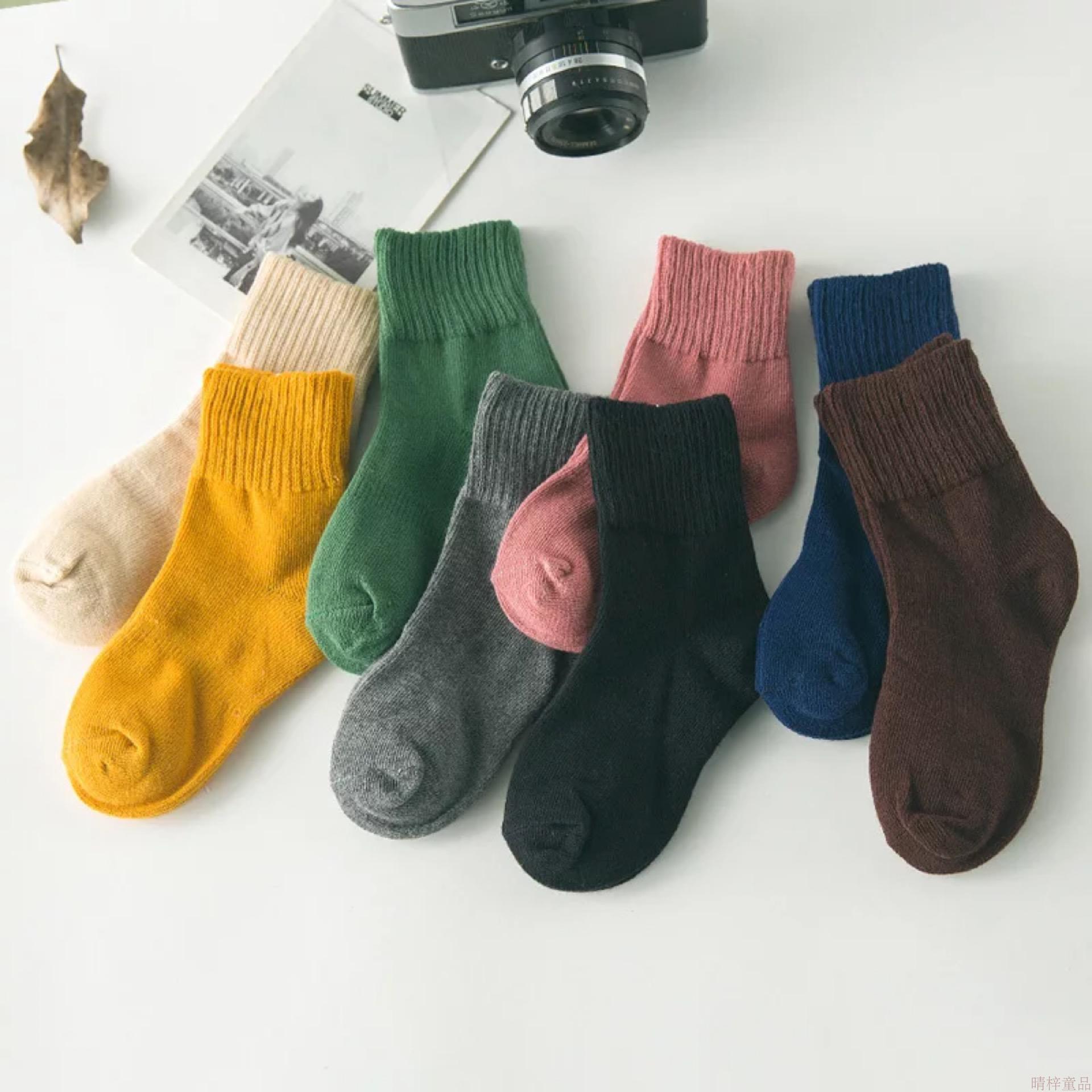 卓上棉品春秋儿童棉袜 男女童纯色中筒棉袜  5双装 第二份半价