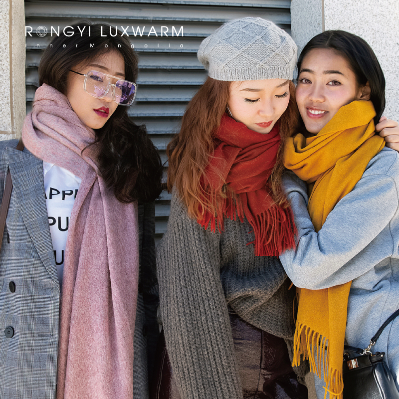 Pure color wool scarf women autumn winter Korean version grey women winter cashmere long thickened Shawl Black