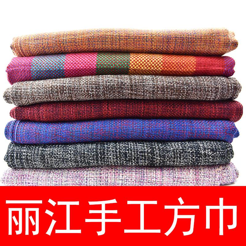 云南丽江摩梭手工纯棉方巾民族风旅游空调披肩围巾两用多色可选