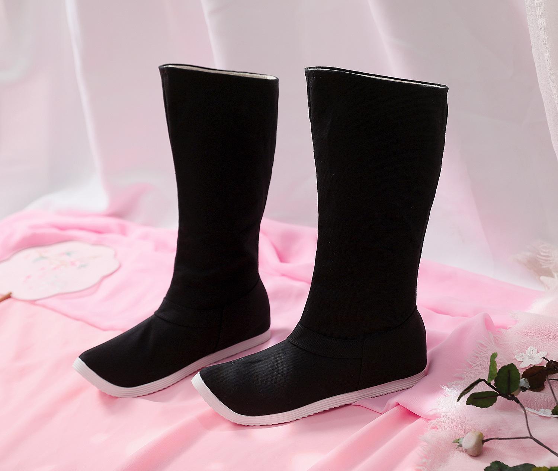 古代時代の服装の漢服の靴の靴の復古する官の靴の侠客は頭を上げて靴の男女の古い中国の風の布の靴の黒色の靴を上げます