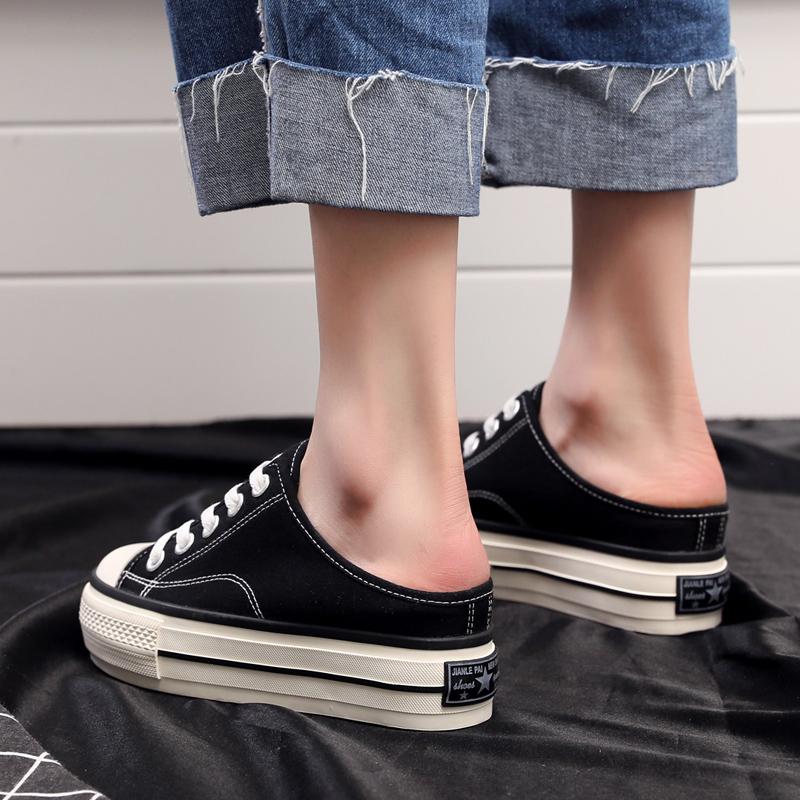 2020新款夏黑色帆布鞋厚底内增高懒人半拖鞋女外穿无后跟潮松糕鞋