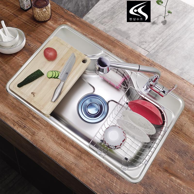 韩国原装进口304不锈钢水槽加厚厨房大单洗菜盆洗碗池巨杉同款850