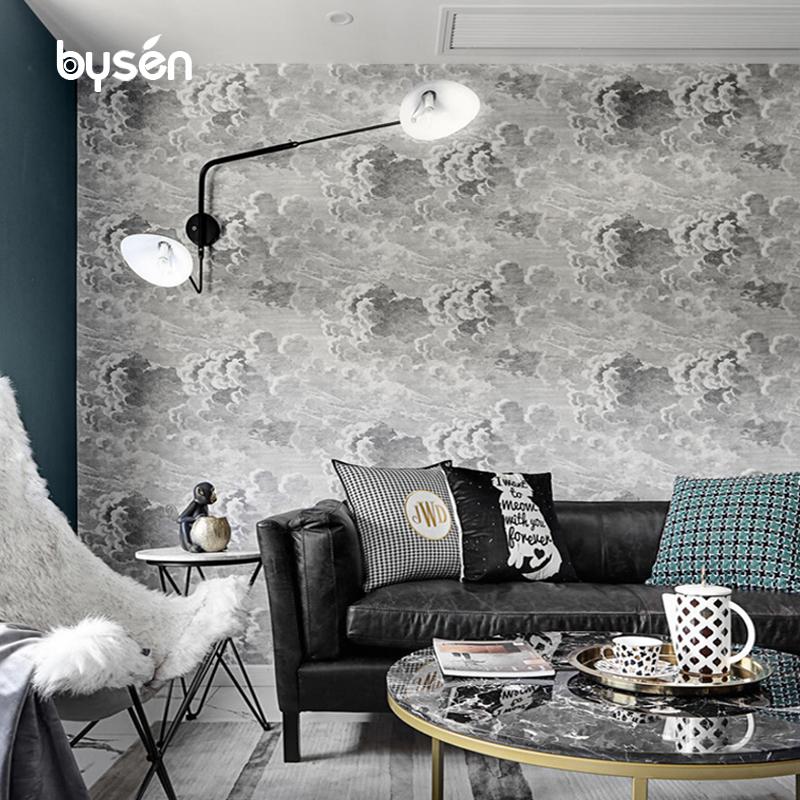 北欧风格网红乌云墙纸轻奢电视背景墙壁纸简约现代客厅卧室壁画布
