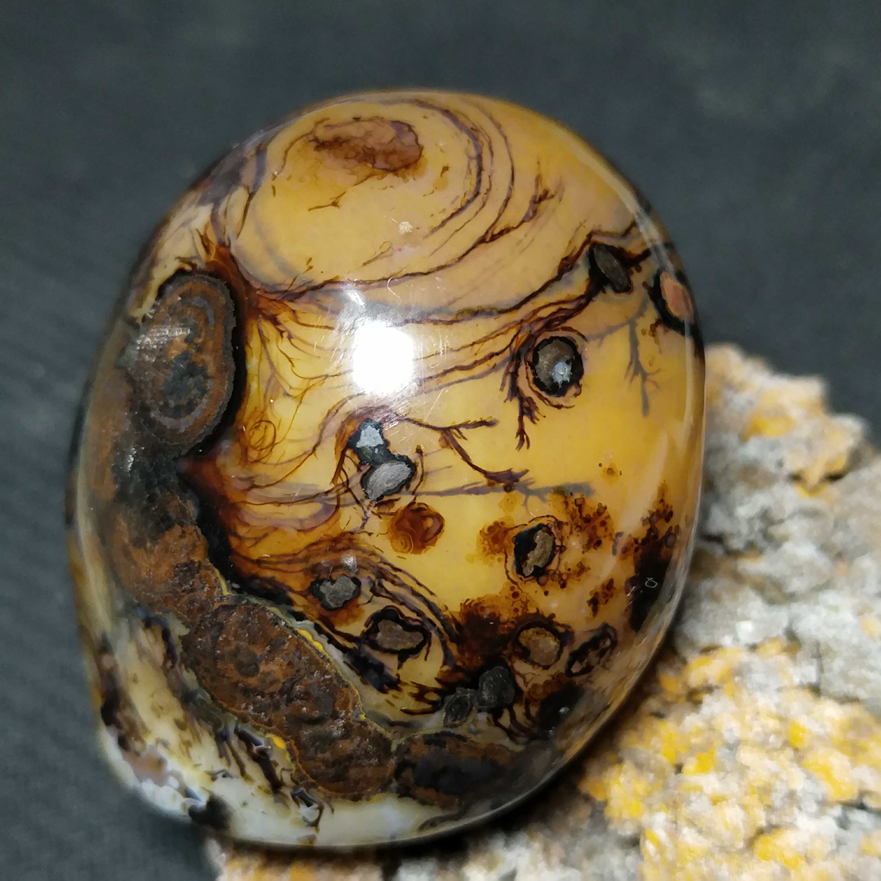 Collection level Xuanhua Warring States agate long hair water grass hieroglyphic handle ornament long strange stone ornamental stone