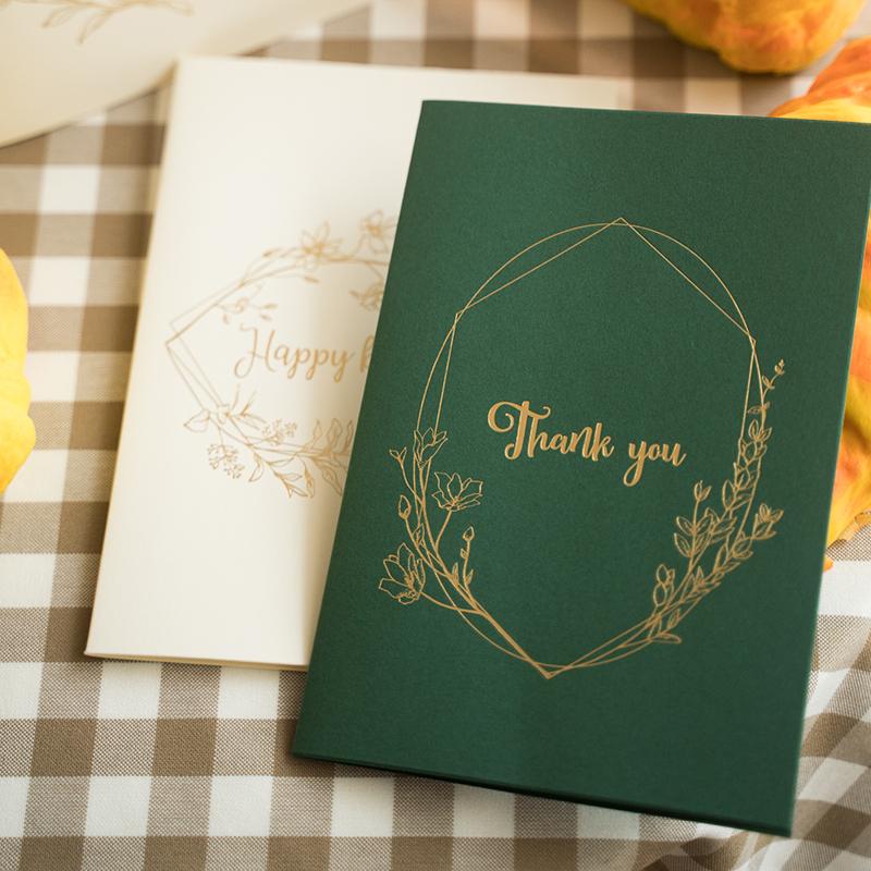 森系唯美烫金花环简约复古欧式感谢卡祝福卡片毕业端午父亲节贺卡
