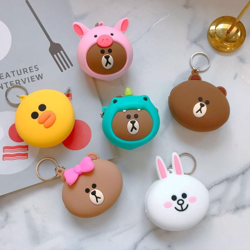 Korean brown bear Cute Mini silicone coin change bag Keni rabbit Chuke schoolgirl bag pendant Decoration