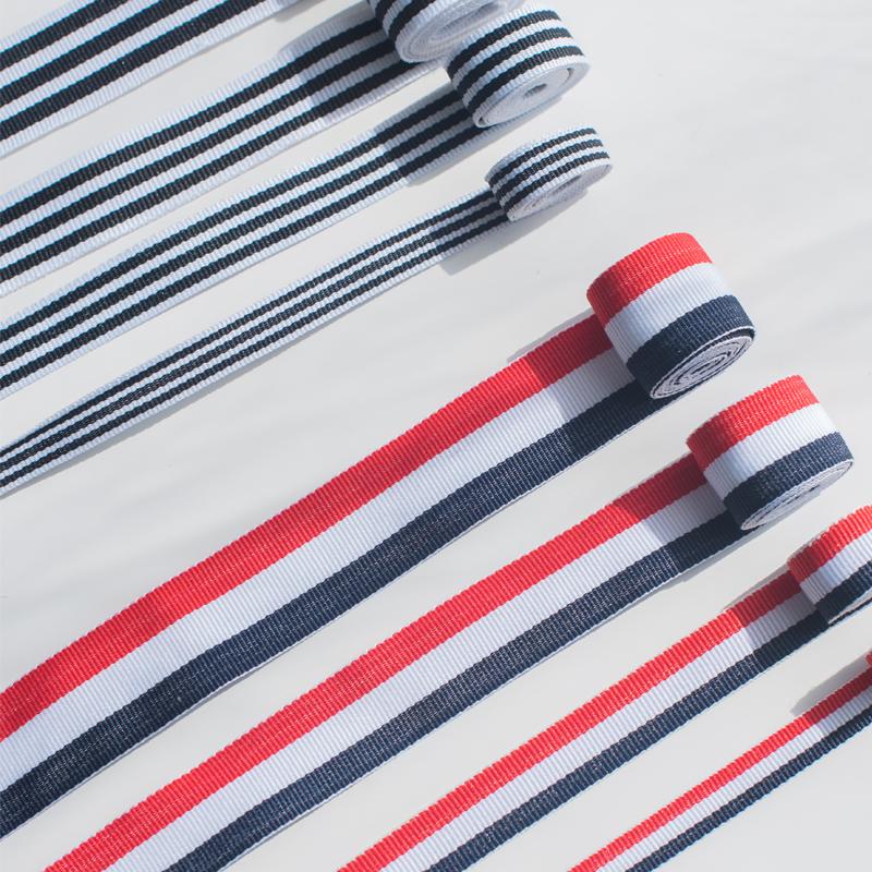 喵爸喵妈织带服装辅料装饰带彩色布带涤纶带运动裤装饰条黑白条