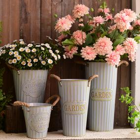 复古铁皮桶干花田园装饰客厅花瓶