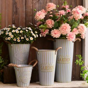 复古铁皮桶干花花瓶做旧美式花店鲜花桶铁艺花盆乡村田园装饰客厅