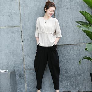 女装新款韩版纯色中袖宽松套头优雅两件套XGYDCC P105