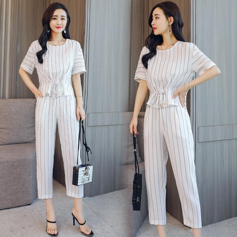 显瘦条纹百搭潮流简约个性套装/套裙两件套CSBZY P120