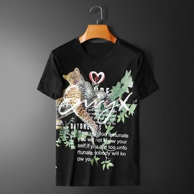 2020新款夏季动物印花丝光棉潮流修身短袖t恤 货号3090 P70 黑色