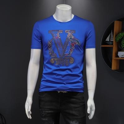 2021男士双丝光棉短袖体恤个性烫钻短袖 货号2102 P65 控价108